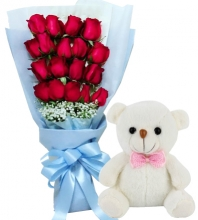 18 Red Roses in Bouquet with Bear