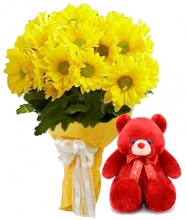 12 Yellow Gerbera in Bouquet with Bear