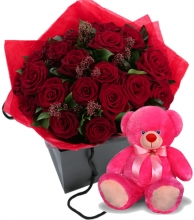24 Red Roses in Box with Bear