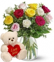 12 Multi Color Roses in Bouquet with Bear