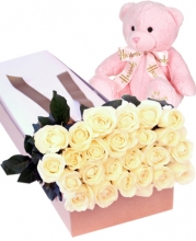 24 White Roses in Box with Bear