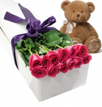 12 Pink Roses in Box with Bear