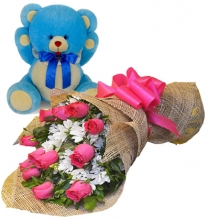 12 Pink Roses in Bouquet with Bear