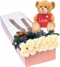 12 White Roses in Box with Bear