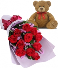 12 Red Roses in Bouquet with Teddy bear
