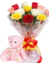 12 Roses & Multi Color Flower in Bouquet with Bear