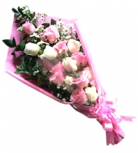 24 Pink and White Roses in Bouquet