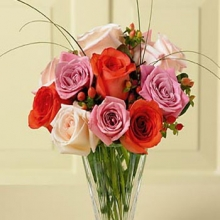 1 Dozen Multi Color Roses in a Vase