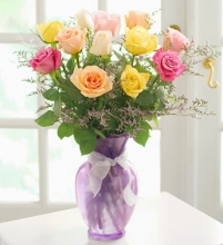 1 Dozen Mixed Roses in a Vase