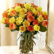 3dz Orange & Yellow Roses in a Vase