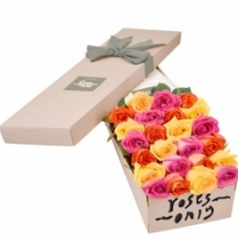 36 pcs Pink & Yellow Roses in a Box
